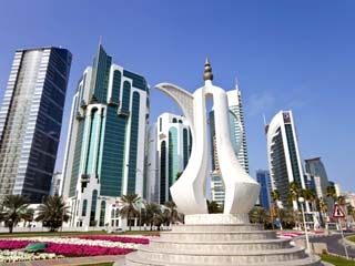 Coffee Pot Monument and New Skyline of West Bay Central Financial District of Doha, Qatar