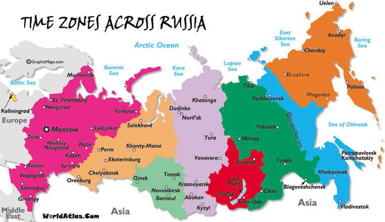 Russia Timezone map