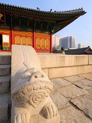 The Stone Haetae on Railings, Deoksegung Palace, Seoul, South Korea