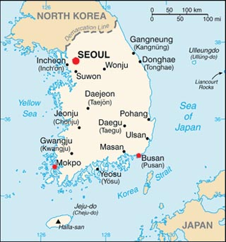 South Korea latitude and longitude map