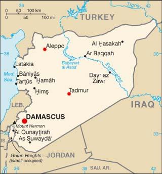 Syria latitude and longitude map