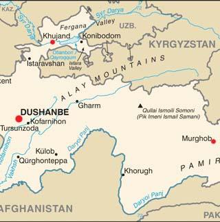 Tajikistan latitude and longitude map