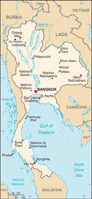 Thailand latitude and longitude map