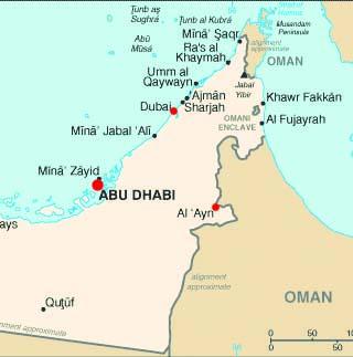 United Arab Emirates latitude and longitude map