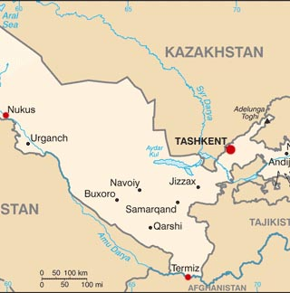 Uzbekistan latitude and longitude map