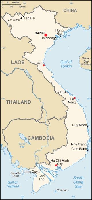 Vietnam latitude and longitude map
