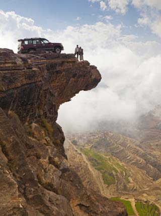Yemen, Sana'A Province, Bokhur Plateau, a Car Perched on a Cliff Top