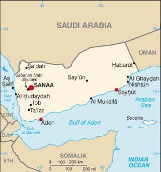 Yemen latitude and longitude map