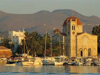 Town Church and Waterfront, Aegina, Argo-Saronic Islands, Greece, Europe