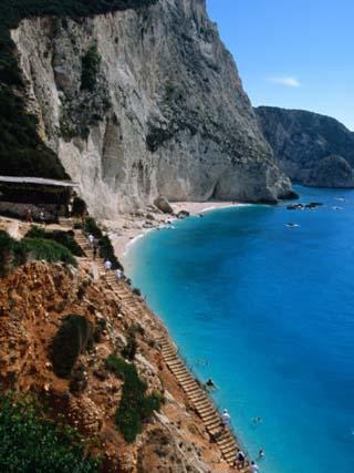 High Angle View of Beach at Porto Katsiki, Lefkada Island, Ionian Islands, Greece