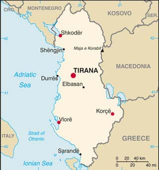 Albania latitude and longitude map