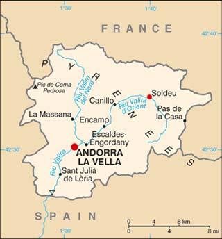 Andorra latitude and longitude map