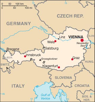 Austria latitude and longitude map