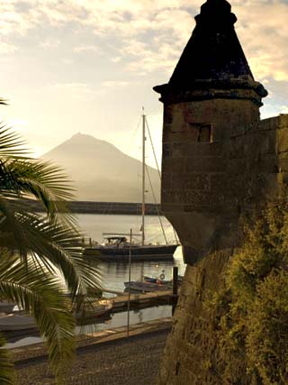 Harbour with Volcanic Island of Pico Beyond, Horta, Faial Island, Azores, Portugal