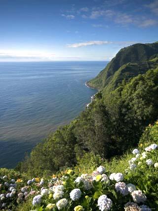 Coastline at Miradouro de Sossego Viewpoint, Sao Miguel Island, Azores, Portugal
