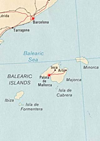 Balearic latitude and longitude map