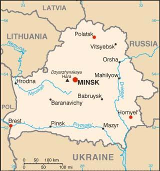 Belarus latitude and longitude map