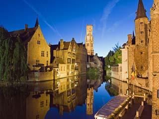 Reflection in Canal of Belfort (Belfry Tower), Old Town, Bruges, Flanders, Belgium