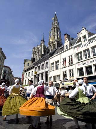 Folk Dance in Old Town, Antwerp, Belgium, Europe