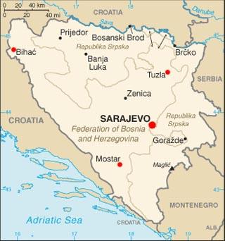 Bosnia and Herzegovina latitude and longitude map
