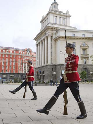 Changing of the Guard at Presidents Building, the Party House in the Background, Sofia, Bulgaria