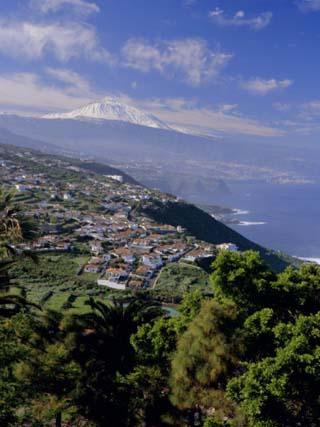 Aerial View Including Mount Teide and Atlantic Coast, Tenerife, Canary Islands, Atlantic, Spain