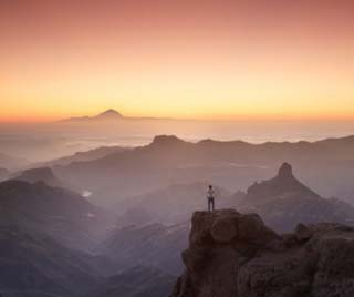 Canary Islands, Gran Canaria, Central Mountains, View of West Gran Canaria from Roque Nublo