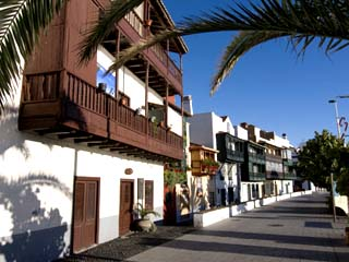 Wooden Balconies at Beachfront of Santa Cruz De La Palma, La Palma, Canary Islands, Spain, Europe