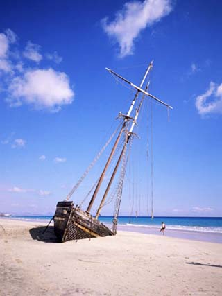 Shipwreck on the Beach on South Coast, Fuerteventura, Canary Islands, Spain, Atlantic