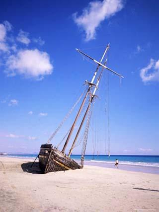 Shipwreck on the Beach on South Coast, Fuerteventura, Canary Islands, Spain, Atlantic