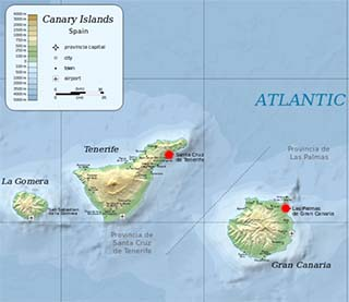 Canary Islands latitude and longitude map