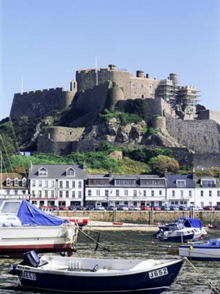 Mount Orgueil Castle and Harbour, Gorey, Grouville, Jersey, Channel Islands, United Kingdom