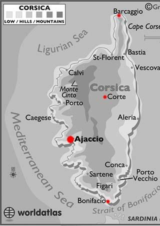 Corsica latitude and longitude map