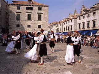 Tourist Board Folk Dancers in Lusa Square, Dubrovnik, Dalmatia, Croatia