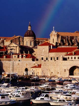 Rainbow Over Cathedral of the Assumption of the Virgin, Old Town and Harbour, Dubrovnik, Croatia