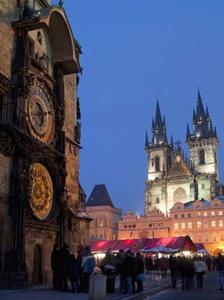 Astronomical Clock of Gothic Old Town Hall, Stalls of Christmas Market, Prague