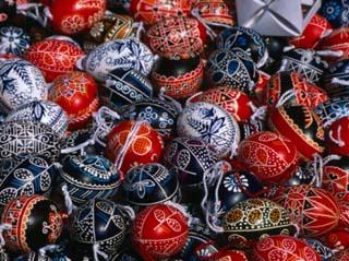 Ornamental Moravian Eggs for Sale at Easter Market, Prague, Czech Republic