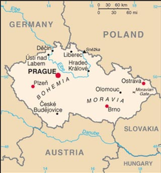 Czech Republic latitude and longitude map