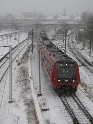 One Red Train on Snow Day, Copenhagen, Denmark