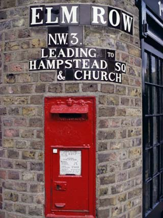 Tiled Street Name and Postbox, Hampstead, London, England, United Kingdom