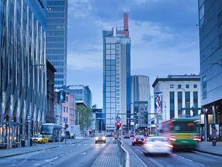 Estonia, Tallinn, New Town, High Rise Buildings on Laikma Street