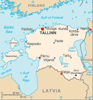 Estonia latitude and longitude map
