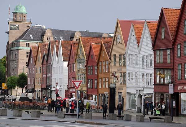 row of buildings in bergen norway