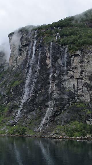 waterfalls on a cliff