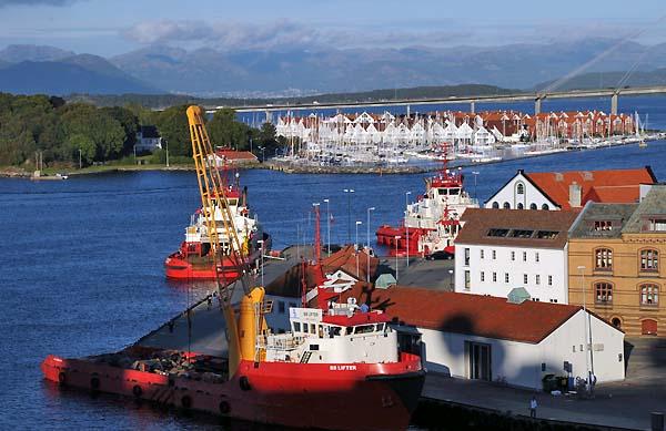 boats in the harbor stavanger norway
