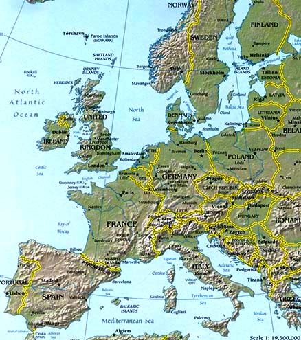 Europe map map of europe facts geography history of europe european topographical map gumiabroncs Choice Image