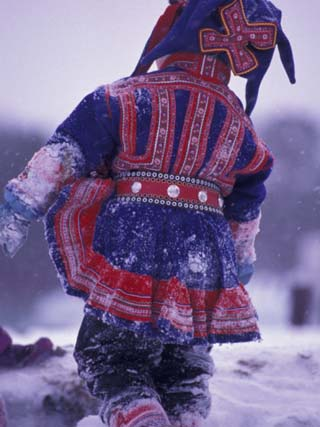 Lapp Child in Traditional Dress, Lappland, Finland
