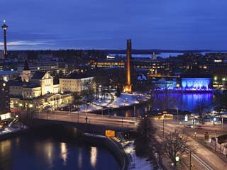 River Tammerkoski Runs Through City Centre, Past Finlayson Complex, Night Time in Tampere, Finland