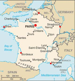 France latitude and longitude map