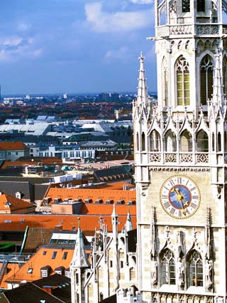 View of Glockenspiel from Saint Peter's Church, Munich, Germany